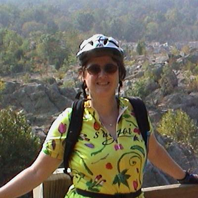 Amber with the Potomac River behind her, 2002